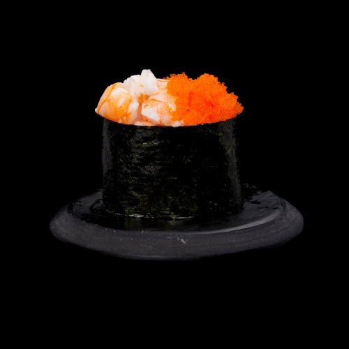 Gunkan Hiidkrevett-Tobiko sushi