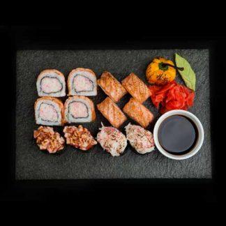 Küpsetatud assortii sushi